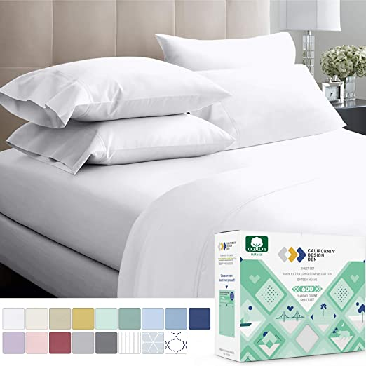 Silky Sateen Weave Breathable Soft COT PRINTS 400 Thread Count 100/% Cotton Sheet Set 4-Piece Long-staple Combed cotton sheets Queen Sheets Set Bedsheet set White 14 deep pocket White 14 deep pocket