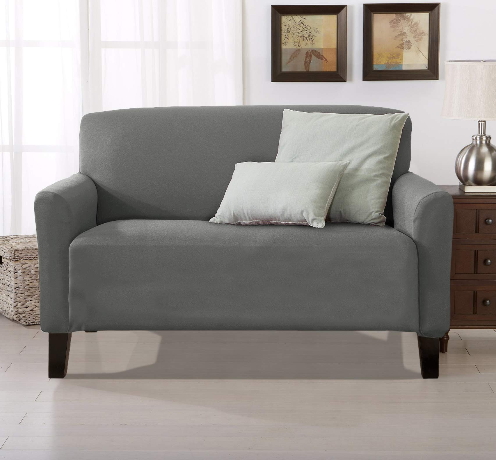 Home Fashion Designs Form Fit, Slip Resistant, Stylish Furniture Cover/Protector Featuring Lightweight Stretch Twill Fabric. Brenna Collection Strapless Slipcover (Loveseat, Charcoal - Solid)