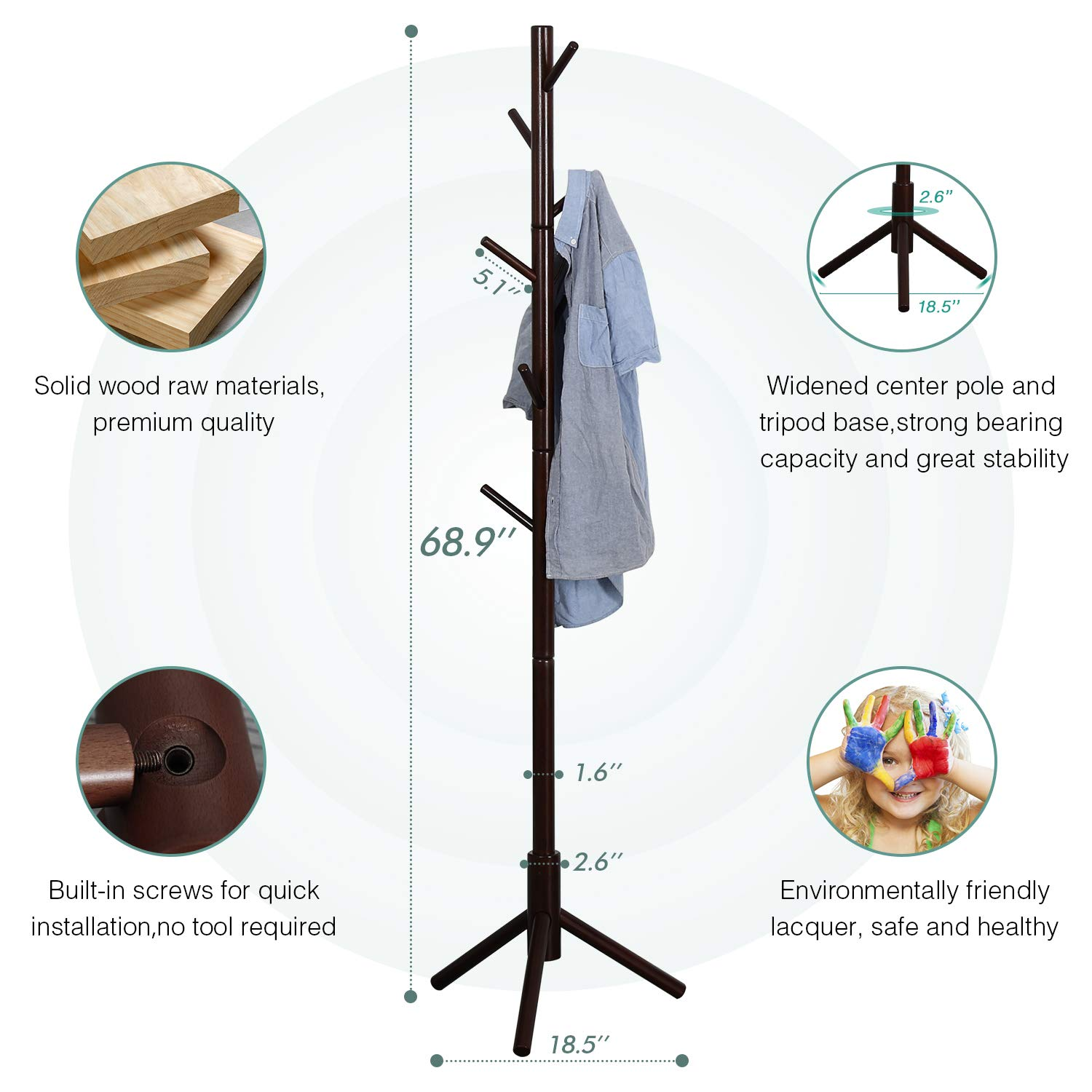 Vlush Sturdy Wooden Coat Rack Stand, Entryway Hall Tree Coat Tree with Solid Base for Hat,Clothes,Purse,Scarves,Handbags,Umbrella- 8 Hooks,Brown