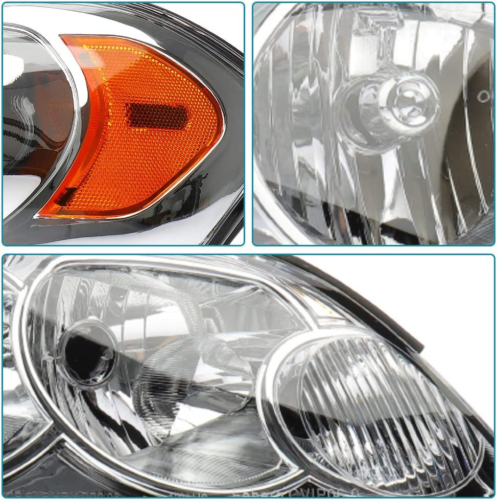 IRONTEK Headlight Assembly for 06-13 Chevy Impala 14-16 Chevy Impala Limited 06-07 Chevy Monte Carlo Replacement Headlamp Driving Light Chrome Housing with Clear Lens GM2502261//GM2503261 Pair