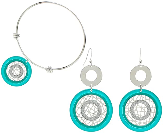 Vintage Style Jewelry, Retro Jewelry Lova Jewelry 70s Style Funky Turquoise Disk Torque Bracelet Earrings Set $17.99 AT vintagedancer.com