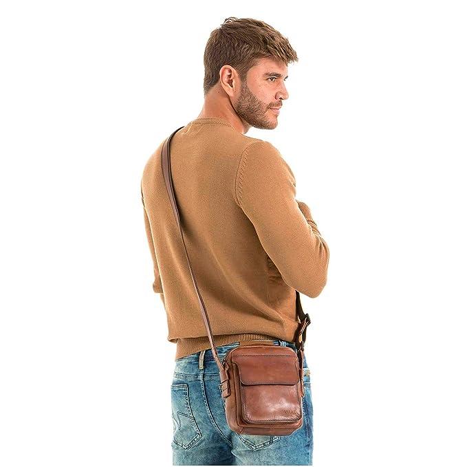 Amazon.com: VÉLEZ Men Genuine Leather Crossbody Bag | Bandolera De Cuero Bicolor: Shoes
