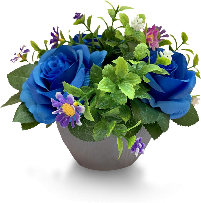 Mixrose Small Fake Plants Artificial Silk Rose Flower Bushel Bouquet in Textured Imitation Wood Pot for Home, Office, Kitchen, Bathroom, Countertop Décor (Deep Blue)