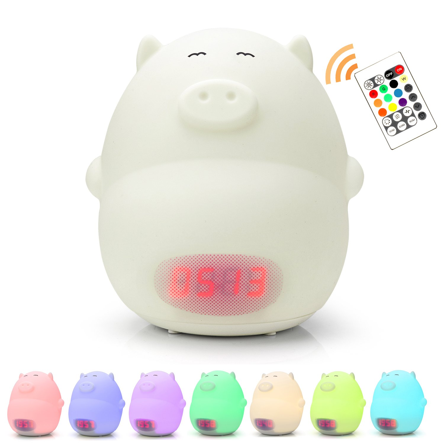 Alarm Clock for Kids with Remote Control, GoLine Alarm Clocks for Bedrooms, Colorful Cute Pig Night Light, Digital Clock Battery Powered, Nursery Clock, Toys for 1 Year Old, Birthday Gifts for Girls.