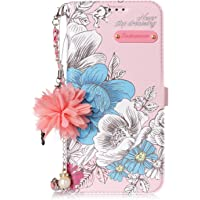 LARPOTE for Samsung S7 EDGE Case,With Bead Flower + Chain PU Leather Notebook Design Case with 【Kickstand】and Function…