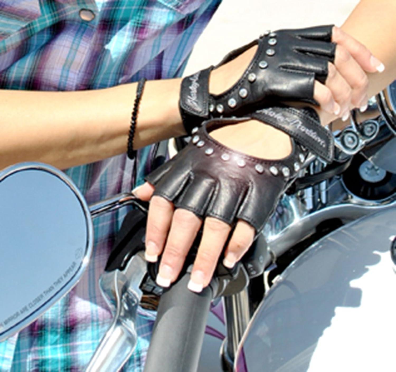 Fingerless gloves for musicians - Harley Davidson Womens Embellished Bling Fingerless Glove 98307 12vw Medium At Amazon Women S Clothing Store