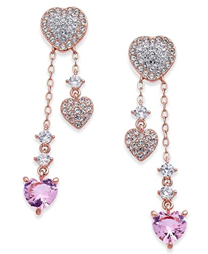 38603c05c Image Unavailable. Image not available for. Color: Danori Rose Gold-Tone  Pavé and Crystal Heart Drop Earrings