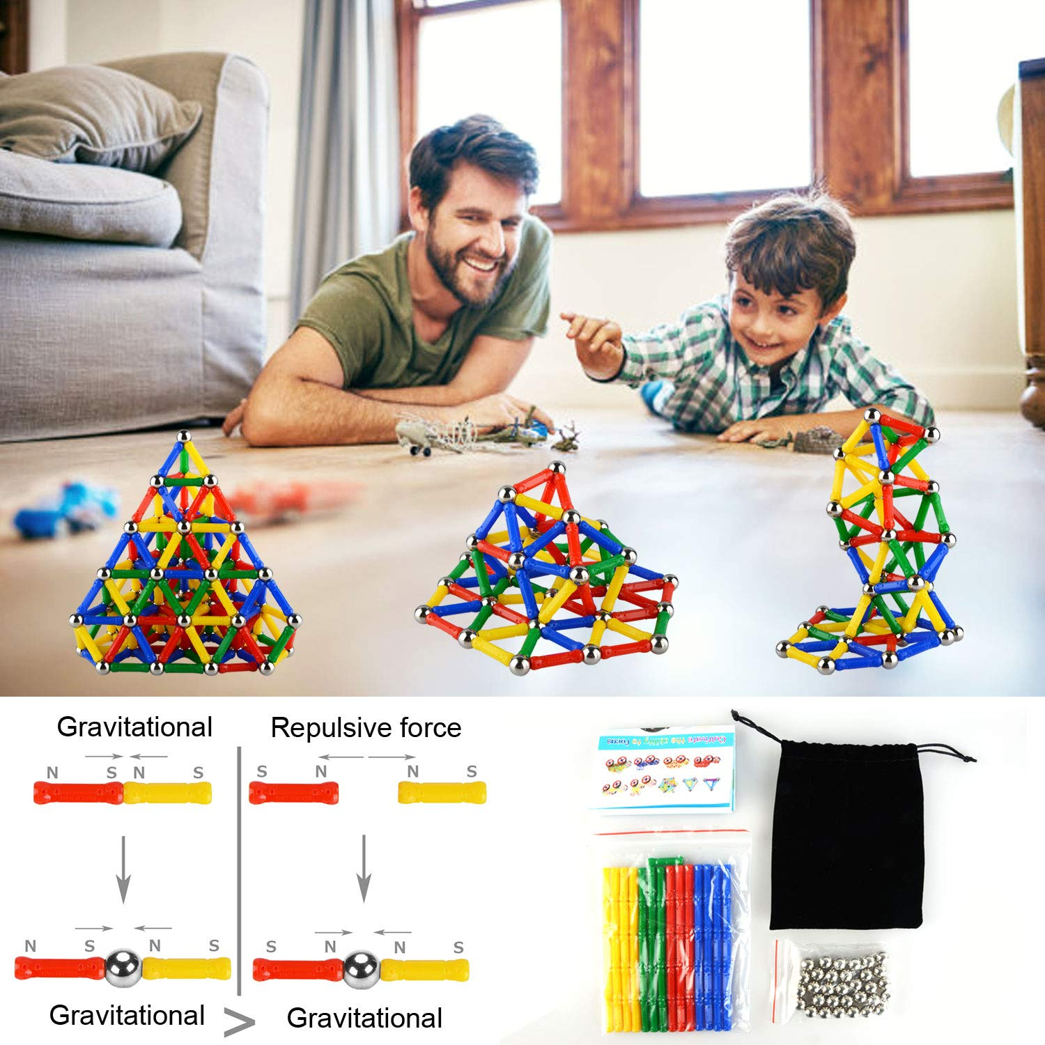 206PCS Magnetic Sticks Magnetic Building Block Construction Stacking Toys Kindergarten Building Stick Set Parent-child Toys Innovative Puzzle Toys for Adults and Kids by Accessorieskits524 (Colors May Vary)