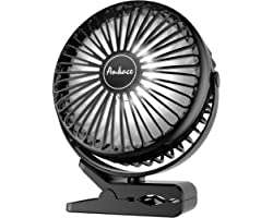 10000mAh Portable Fan Rechargeable, Battery Operated Desk Fan Clip on Fan with LED Light, 3 Modes 360° Rotation Personal USB
