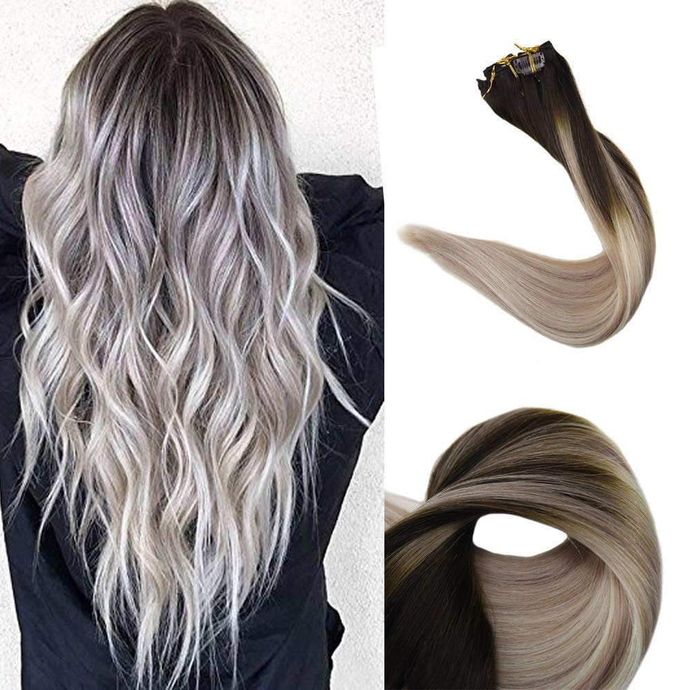 Full Shine 14 Inch Balayage Clip In Hair Extensions Dark Roots Color 2  Brown Fading To 18 Ash Blonde and 60 White Blonde Remy Hair Clip In  Extensions