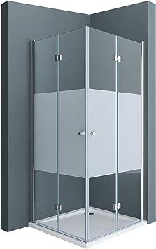 doporro: Cabina de ducha de esquina diseño Ravenna26 90x80x190 mampara de vidrio de seguridad con franjas de vidrio esmerilado   Con revestimiento en ambos lados para fácil limpieza: Amazon.es: Bricolaje y herramientas