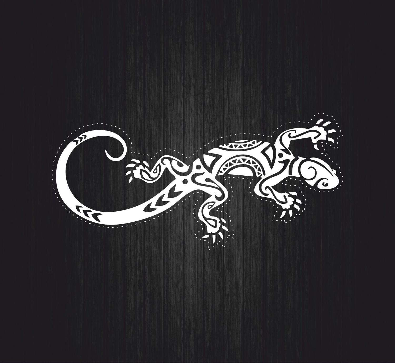 Autocollant Sticker Salamandre lezard Gecko Blanc Voiture Moto macbook Tribal Tuning