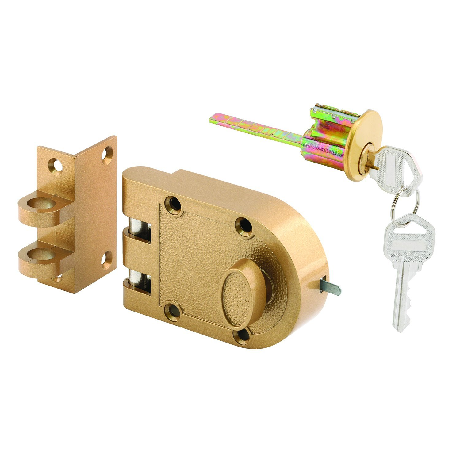 Prime-Line U 9970 Jimmy-Resistant Deadlock, Diecast, Brass Color, Angle Strike, Single Cylinder