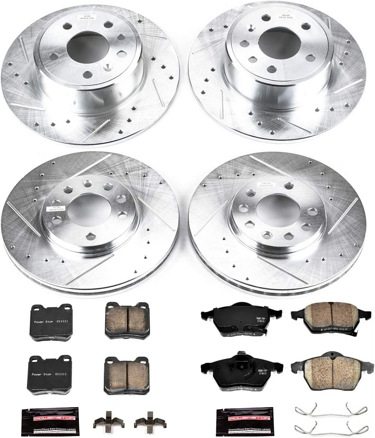 Power Stop K835 Front and Rear Z23 Evolution Brake Kit with Drilled//Slotted Rotors and Ceramic Brake Pads