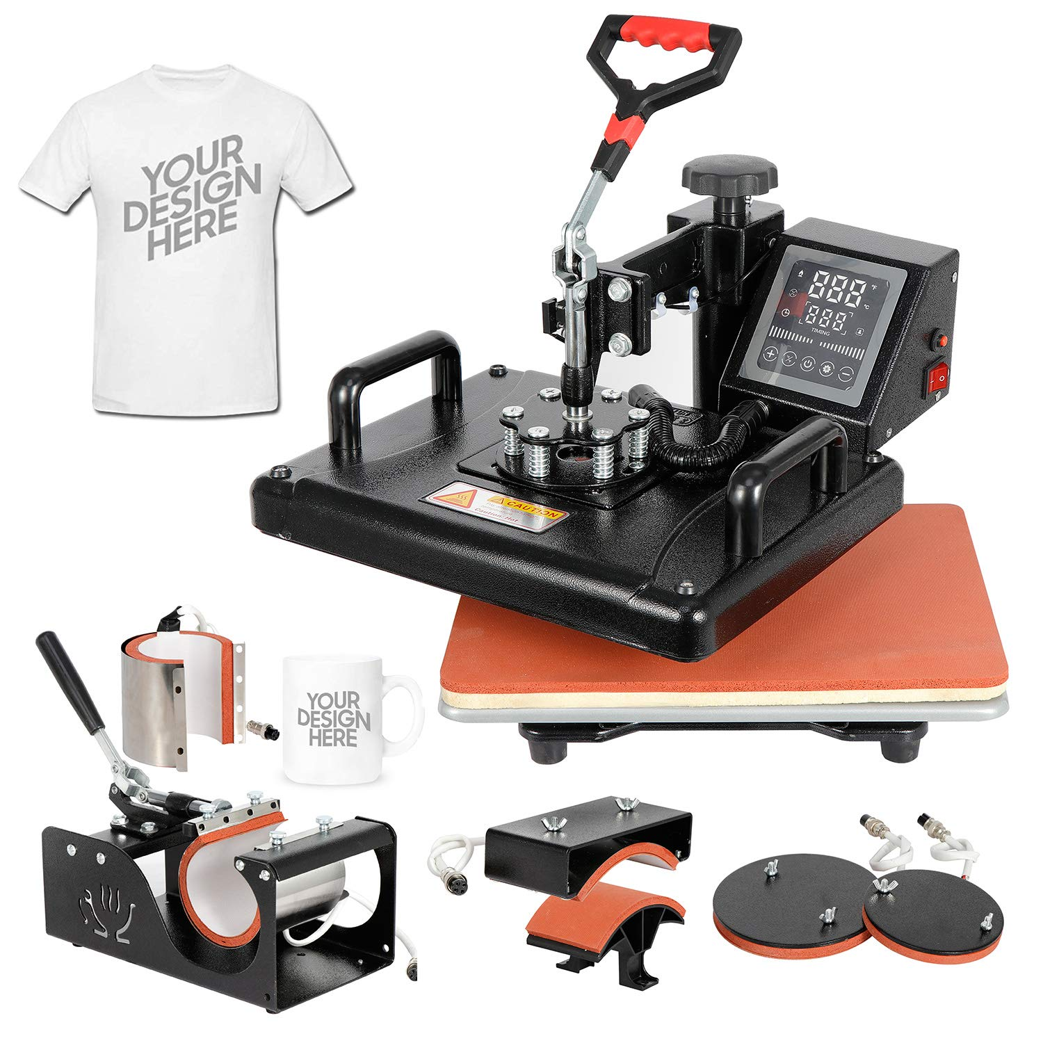 SUPER DEAL Pro 6 in 1 Combo Heat Press Machine T-Shirt Hat Cap Mug Plate Digital Transfer Sublimation Machine, 12'' x 15'' Heating Plate