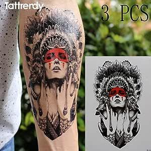 Handaxian 3 Piezas de Tatuaje y Arte Corporal Hombre Dama guerrera ...