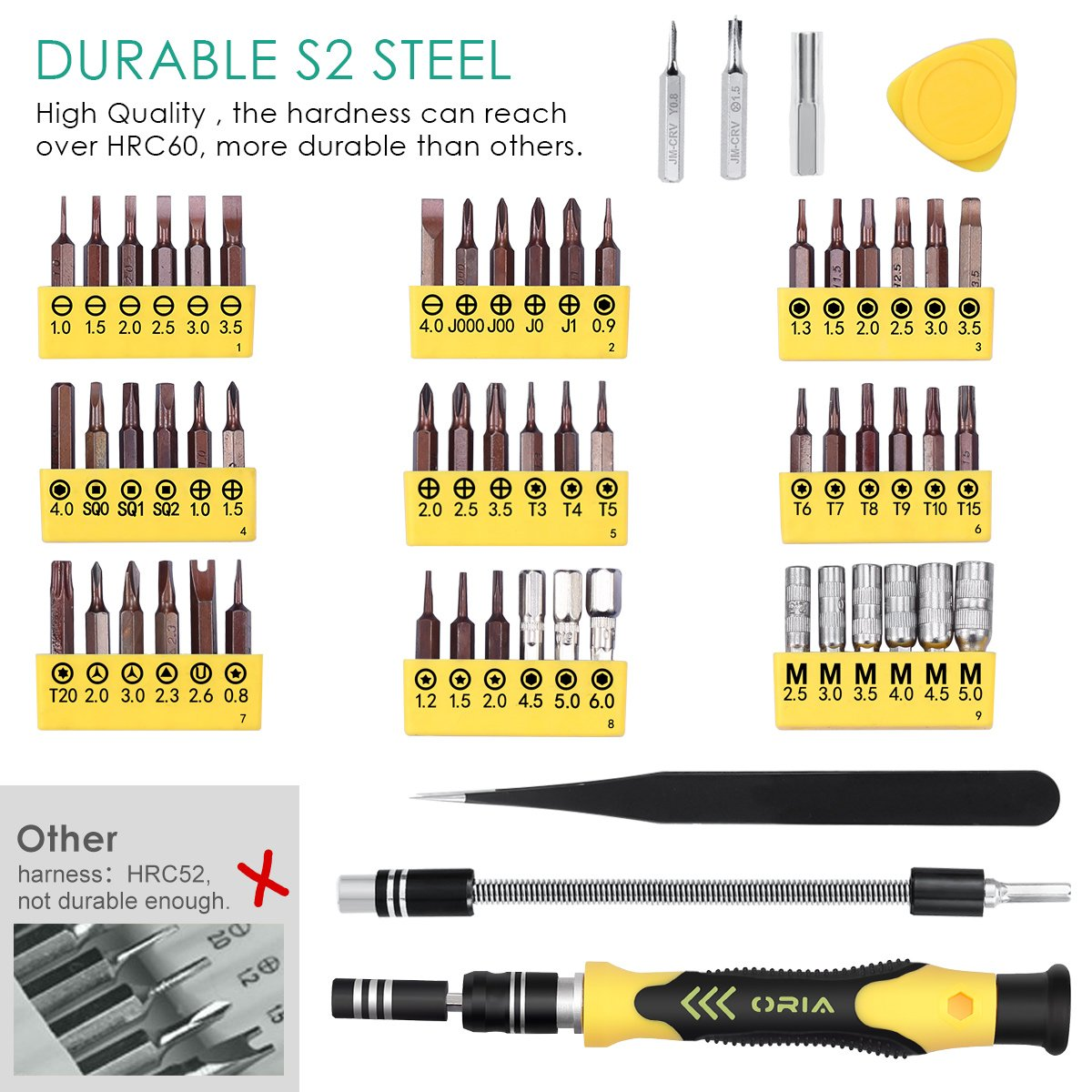 ORIA 64 in 1 Precision Screwdriver Set with 56 Bits, S2 Steel Magnetic Driver Kit, Professional Electronics Repair Tool Kit for Smartphone, Cell Phone, Computer, PS4, Tablet and Electronics Devices by ORIA (Image #2)
