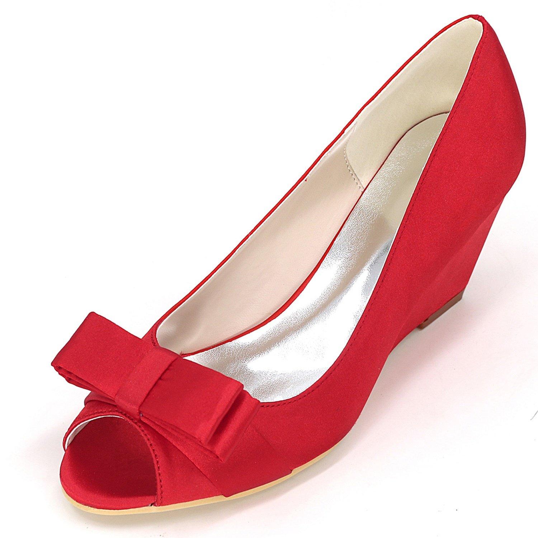 Elobaby Zapatos De Boda De Las Mujeres Y9140-12 Satin Platform Lady 35-42 TamañO Sandalias De La Cinta New/Peep Toe/6.5cm Heel 37 EU Red