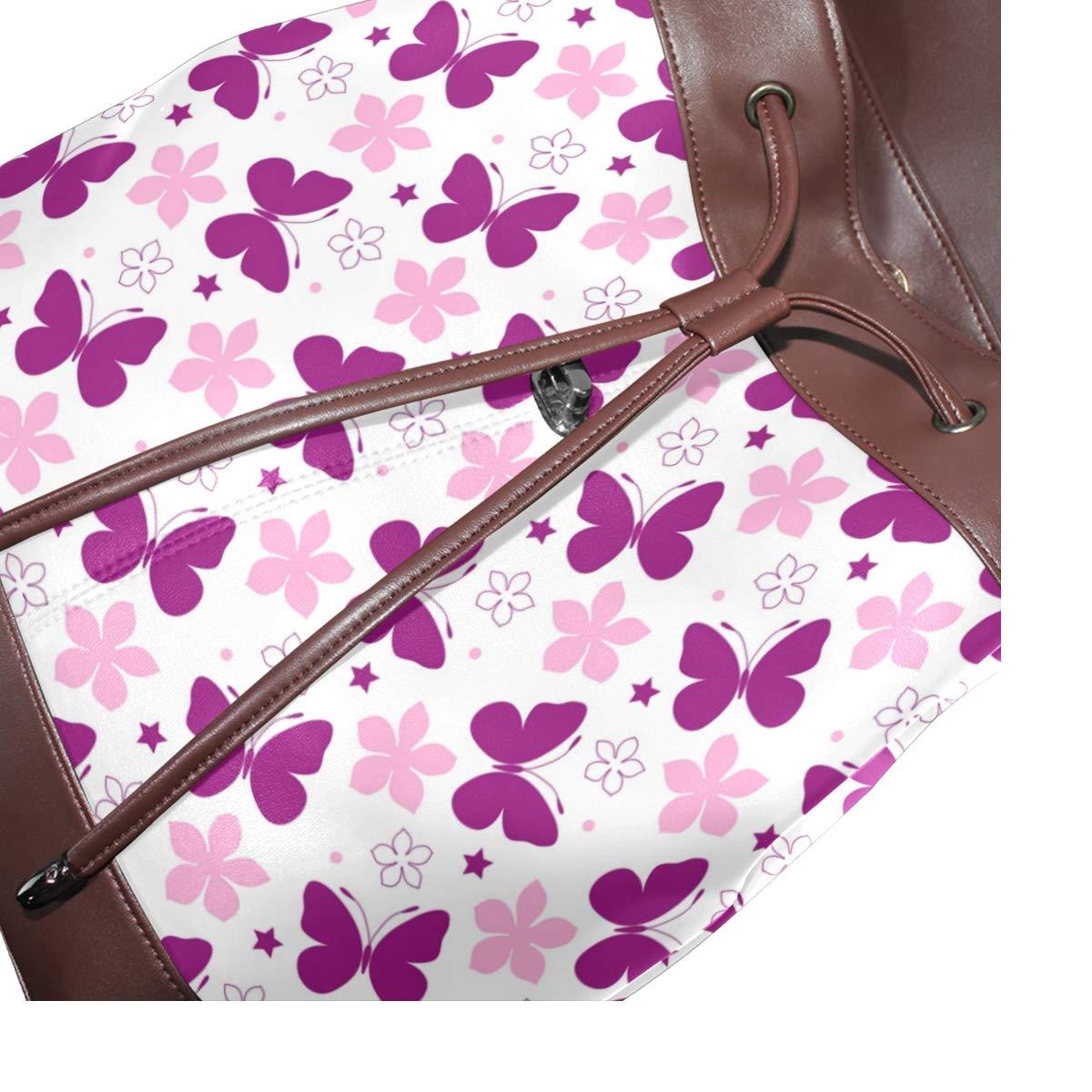 Butterfly Backpack PU Leather School Shoulder Bag Rucksack for Women Girls Ladies Backpack Travel Bag