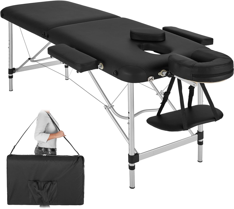 TecTake Table de Massage Pliante Aluminium Cosmetique Lit de Massage Portable + Housse de Transport - diverses couleurs au choix - (Noir | No. 402786)