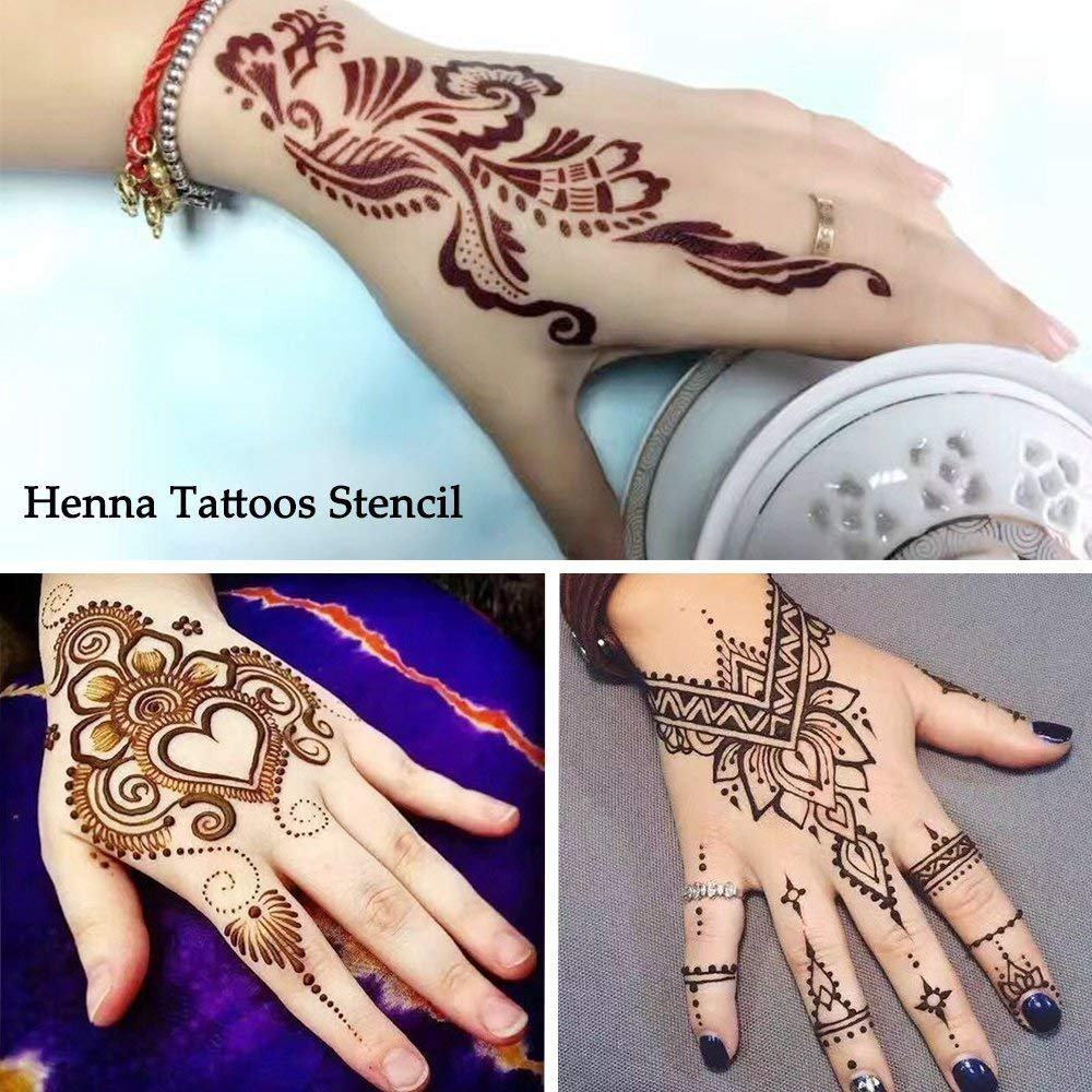 India Henna Tattoo Kit, Jessie 7 Packs Temporary Tattoo Paste Cone Body Art Painting Drawing with 120 pcs Free Henna Template Set,Black,Brown,Red,White,Blue, Rose-Carmine by Jessie (Image #5)
