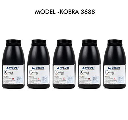Prodot Kobra Laserjet Dry Ink Toner Powder for (HP 36A/88A/78A ; CANON-925) Set of 5 Black (75gm) Toner Cartridges at amazon
