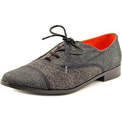 db7405e60a7 TOMS Mocha Brogues Black Textile Mix 10006278 Womens 6