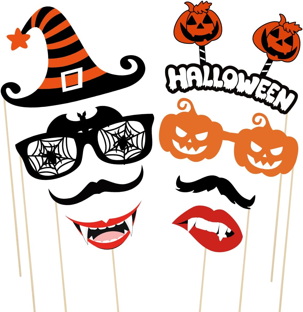 Halloween Party Photo Booth Props Creative Happy Halloween Pose Sign Kit for Party Decoration 47 pack