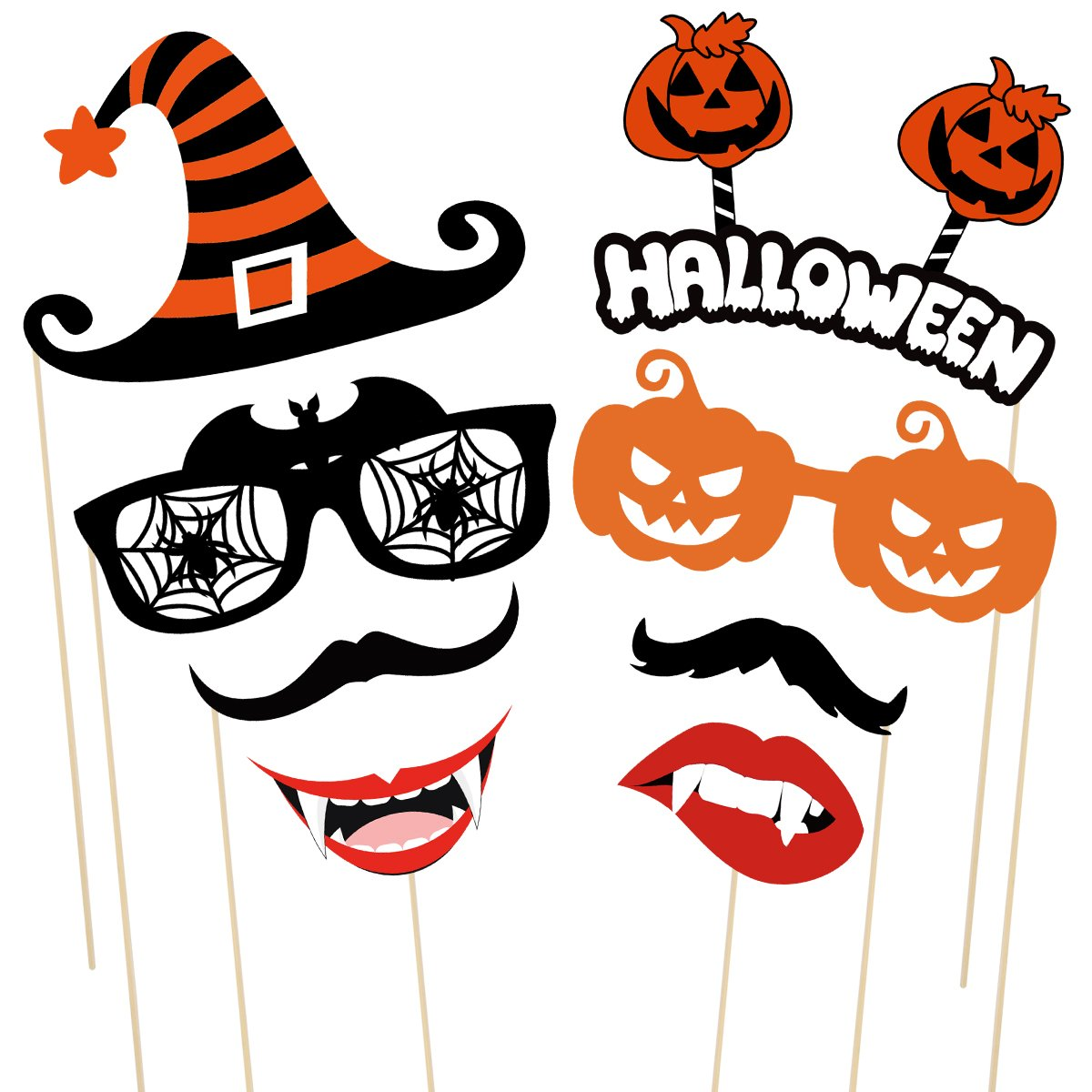 LUOEM 47pcs Halloween Photo Booth Props Creative Halloween Pose DIY Selfie Props for Happy Halloween Party Decorations Supply