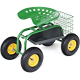 Goplus Garden Cart Rolling Work Seat Outdoor Lawn Yard Patio Wagon Scooter for Planting, Adjustable 360 Degree Swivel Seat w/Tool Tray, Basket (Green)