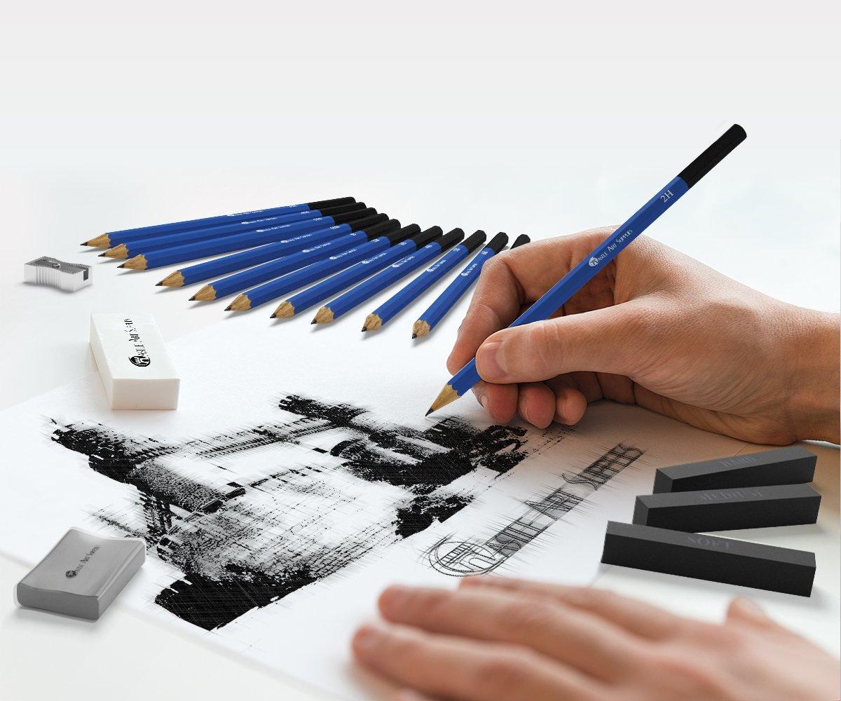 barras de grafito l/ápices de grafito sin madera barr l/ápices de carb/ón ni/ños o cualquier aspirante a artista; incluye l/ápices de grafito Set de 26 l/ápices para dibujo o bosquejo: kit de lujo para principiantes