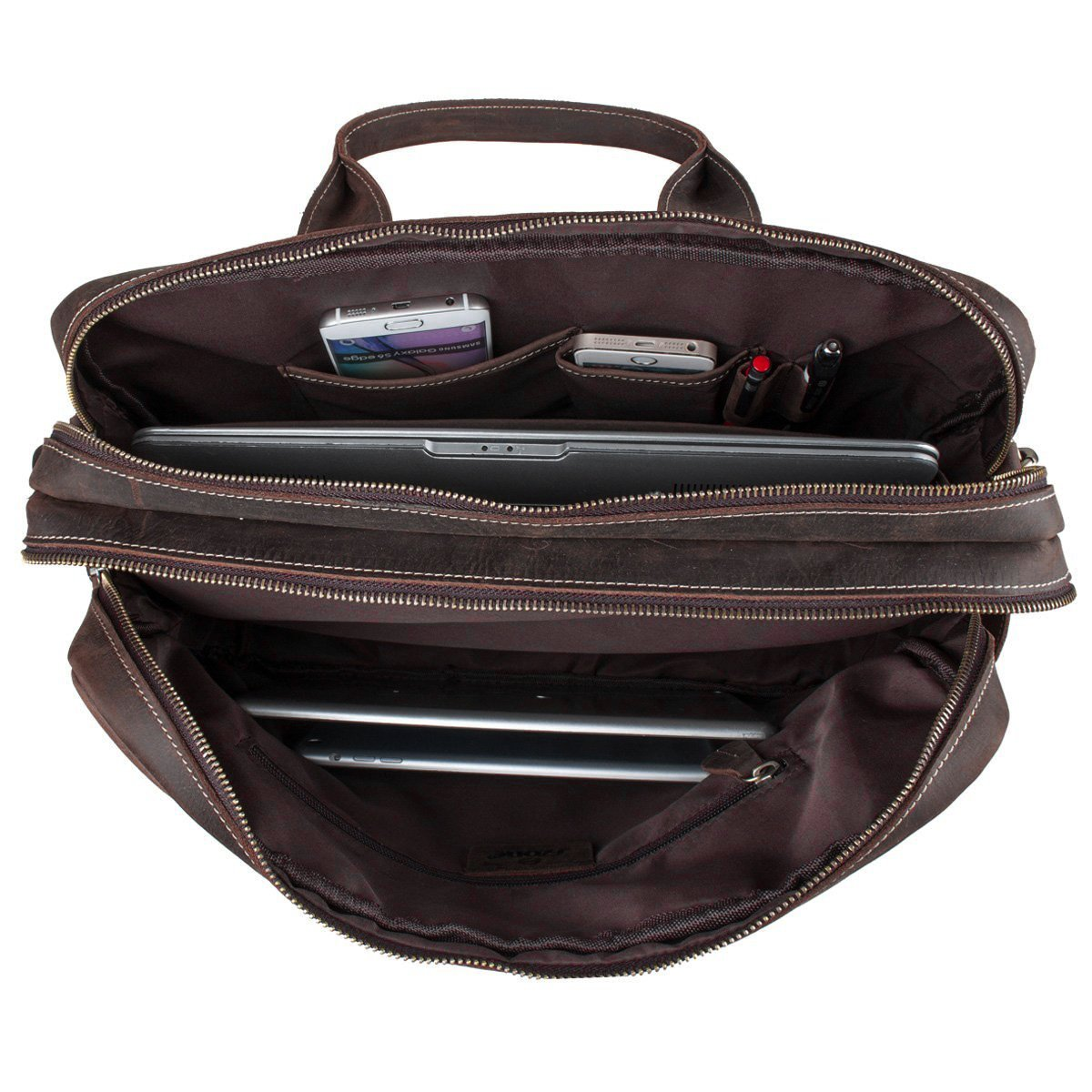 S-ZONE Crazy Horse Leather Shoulder Briefcase for 16 Inch Laptop Bag by S-ZONE (Image #3)