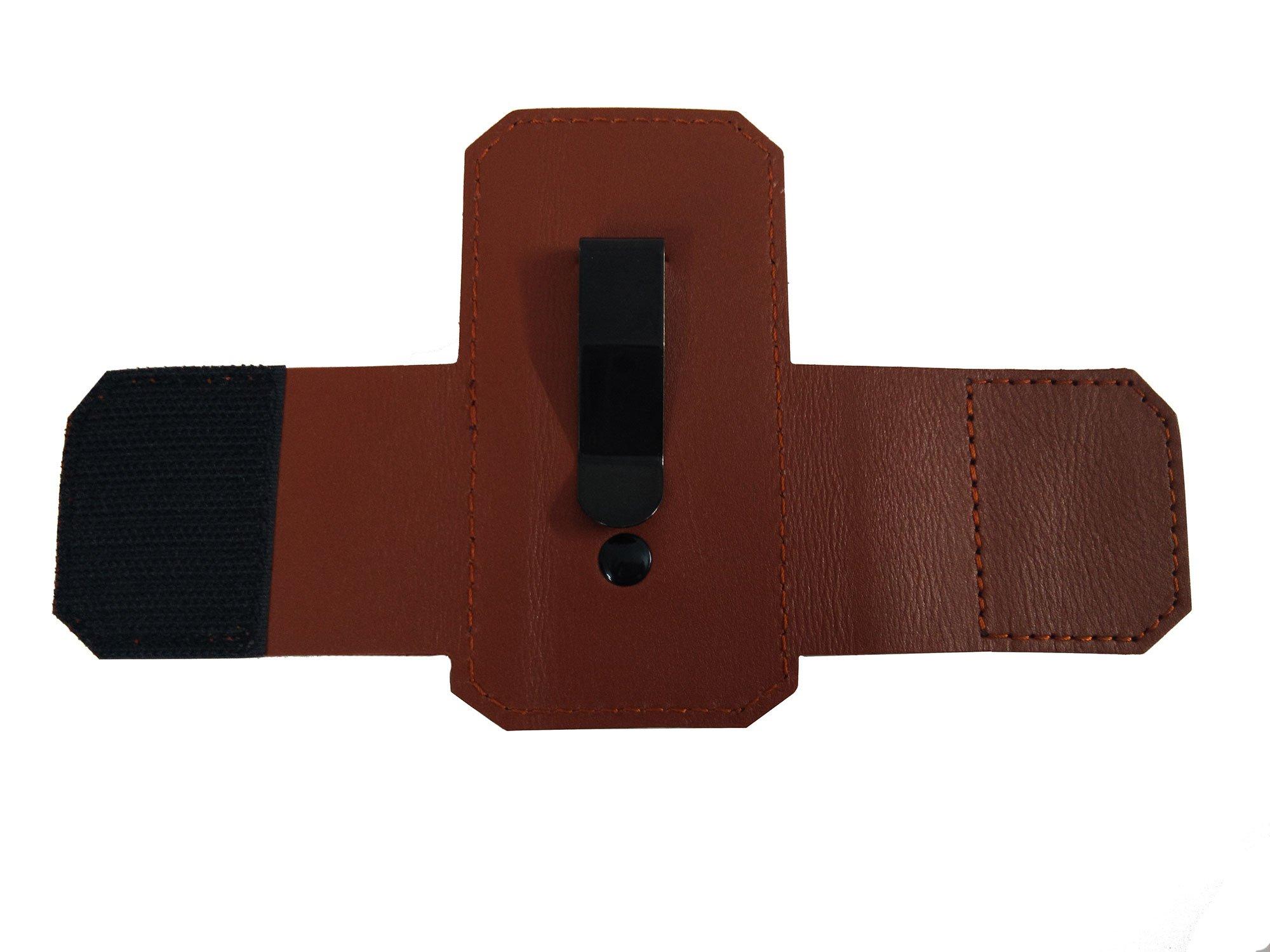 100% -Genuine Leather 3M Littmann Stethoscope Case for Women Men - MDF Adscope Stethoscope Holder Clip, Medical Nursing Accessories ADC Steth Holster Cover Kit for Nurse Cardiology Doctor (Brown) by BlingSoul (Image #3)