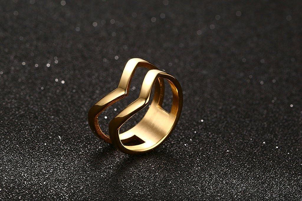 BISHILIN Gold Tone Stainless Steel Irregular Side Intermediate Hollow Golden Rings Men Women