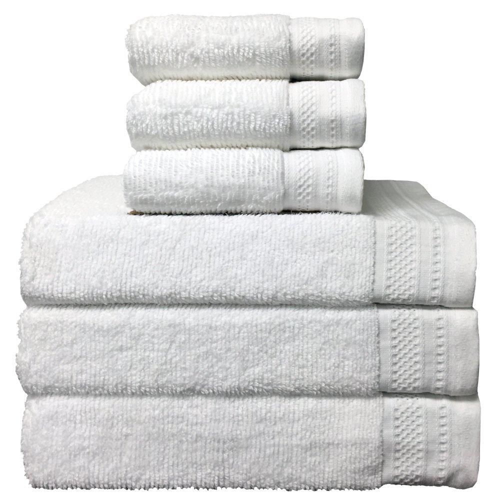 Luxury Elegant Bath Towels Set 100% Premium Quality, Soft Cotton Durable, Double Stitch Edges 3 Large, 28x54 Bathroom Towels & 3 Small, 16x28 Face & Hands Towels 4 Colors Available (White)