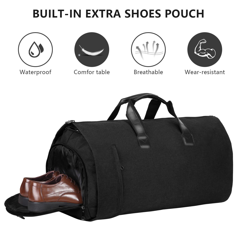 Carry-on Garment Bag Suit Travel Bag Duffel Bag Weekend Bag Flight Bag Gym Bag - Black by UNIQUEBELLA (Image #4)