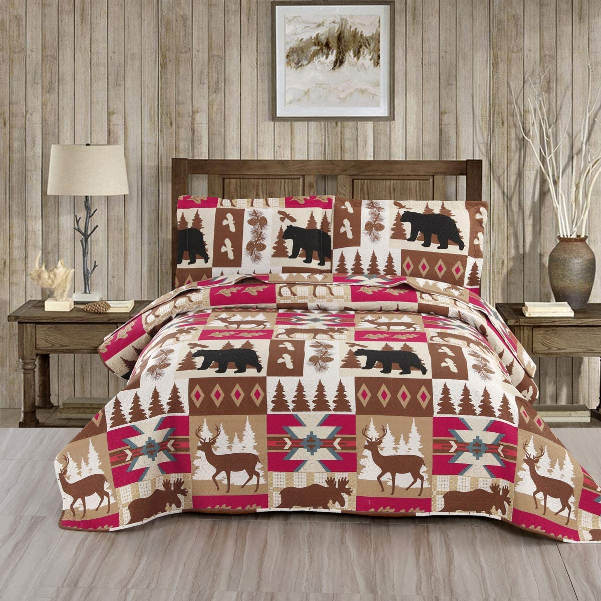 Lodge Quilt Set Bedding Lightweight Cabin Quilts Set Twin Size,3Pcs Rustic Moose Bear Bedspreads Reversible Lodge Coverlet Sets Deer Tree Printed Quilt Pillow Shams