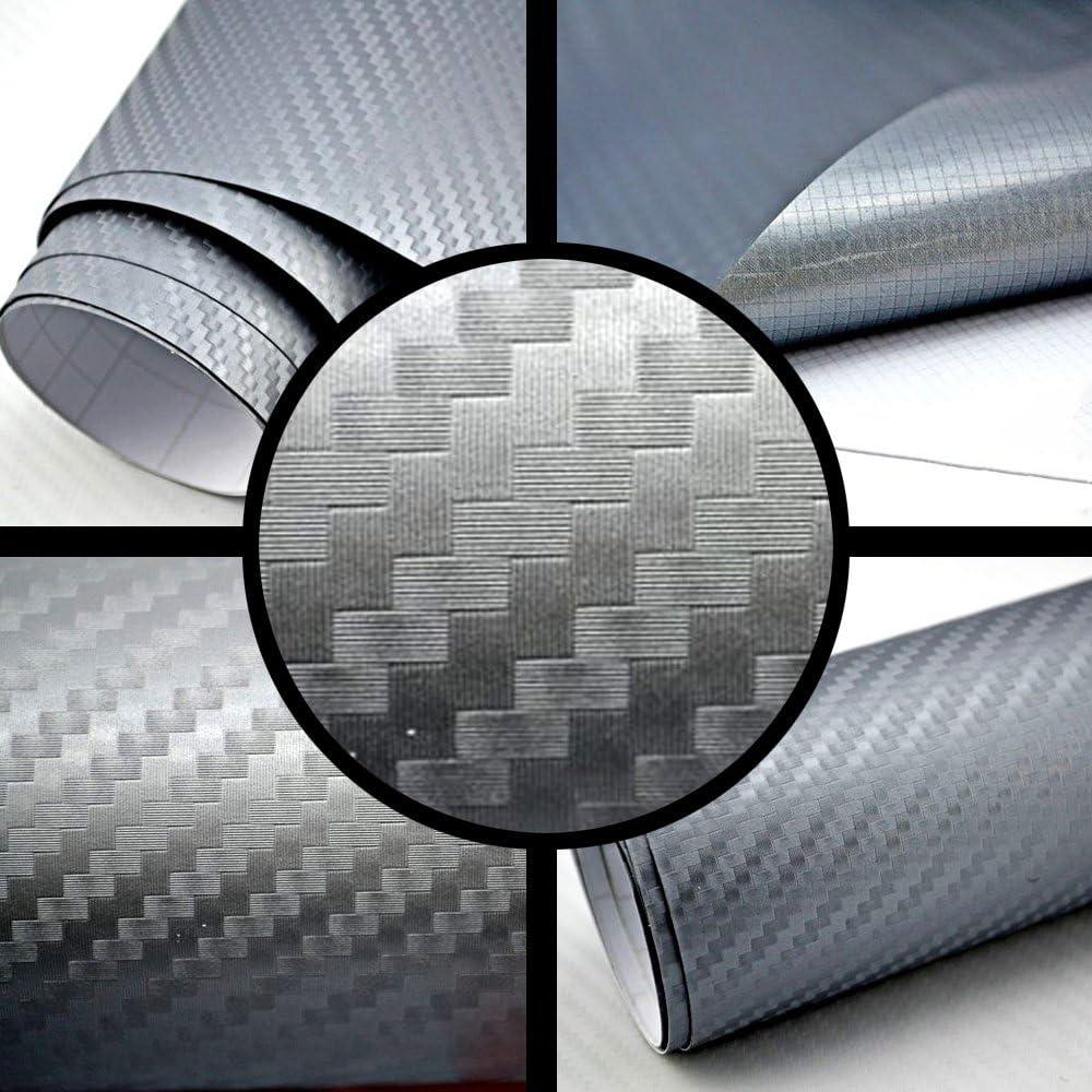 TipTopCarbon 6,57/€//m/² 3D Carbon Folie Silber-grau BLASENFREI 2m x 1,52m mit Luftkan/äle Autofolie selbstklebend