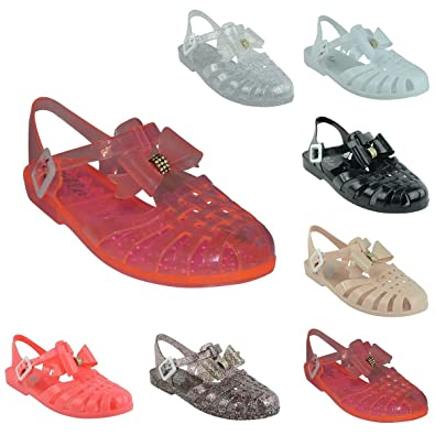e51cd5871aa4 LADIES WOMENS GIRLS RETRO JELLY SANDALS SUMMER BEACH FLAT FLIP FLOPS SHOES  SIZE  Amazon.co.uk  Shoes   Bags