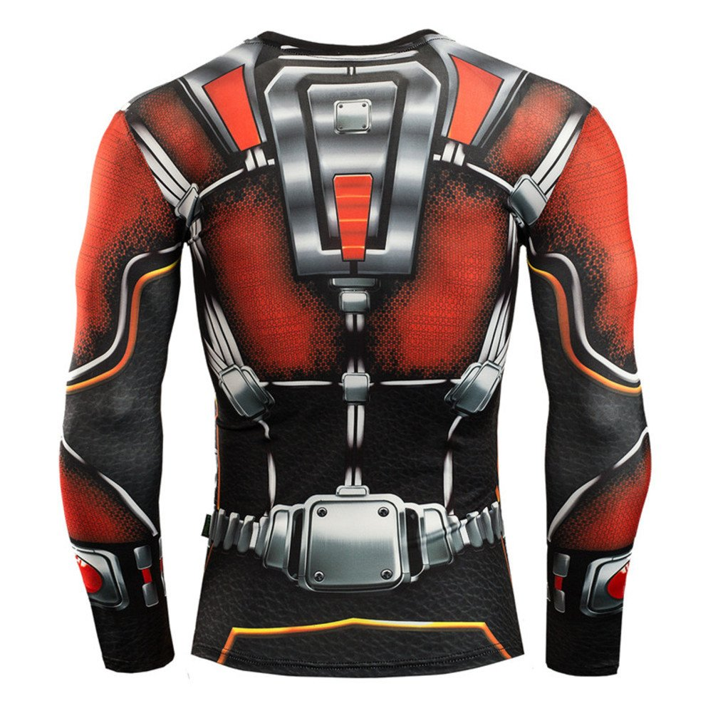 Mens Dry Fit Long Sleeve Compression Running Shirt,Ant Man Workouts Tee