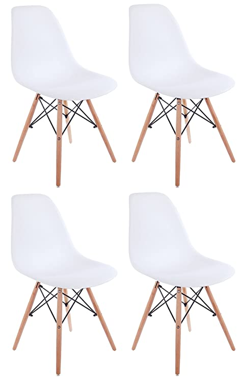 Peachy Creation Yusheng Set Of 4 Eames Style Dining Chair With Natural Eiffel Base Wooden Leg Modern Plastic Dining Side Chair White Machost Co Dining Chair Design Ideas Machostcouk
