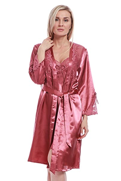 8980aebdd9bbb BellisMira Women s Long Satin Robe Bridal Kimono Lace Trim Nightgown Soft  Pajamas Dressing Gown Sleepwear Dark