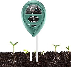 Soil Moisture Sunlight Ph Test Meter,Soil Tester Meter, 3-in-1 Test Kit for Moisture, Light & pH, for Home and Garden, Lawn, Farm, Plants, Herbs & Gardening Tools, Indoor/Outdoors Plant Care