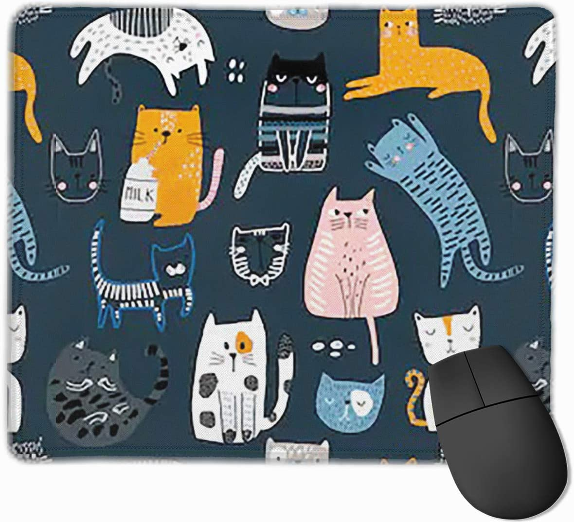 Joyce-life Cute Kittens Diferent Mouse Pads for Computers Laptop Non-Slip Rubber Base Stitched Edge Waterproof Office Mouse Pad Office Gaming Computer at Home Or Work Size 2530