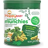 Happy Baby Organic Superfood Munchies Baked Cheese & Grain Snacks, Broccoli Kale & Cheddar Cheese, 1.63 Ounce