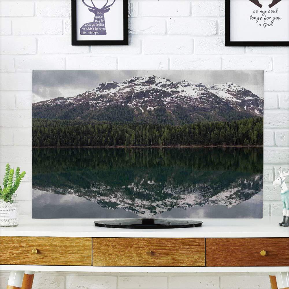 "LCD TV dust Cover,Landscape,Lake St. Moritz in Switzerland Upper Engadin Valley Snowy Mountains,Dark Green Light Grey,3D Print Design Compatible 32"" TV"