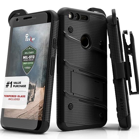 big sale a7191 b1c47 Zizo Bolt Series Compatible with Google Pixel XL w/ [Screen Protector]  Kickstand [12 ft. Military Grade Drop Tested] Holster Clip (Black/Black)