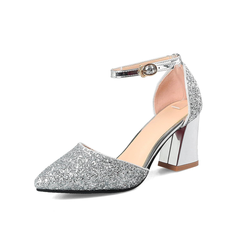 Unbekannt Damen Sandalen Sandalen Damen Spitzen Flachen Mund High Heel Pailletten Schnalle Dick mit Silver 33073e