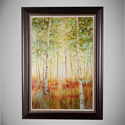 Masterpieces Birch Woods Premium Hand Embellished Canvas With Double Frame Oil Painting Wall Art