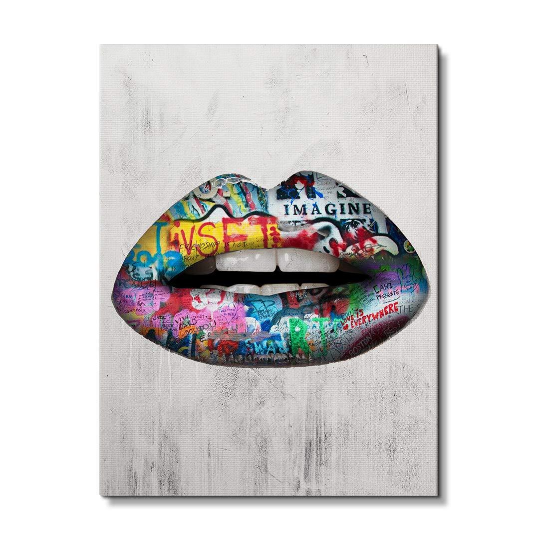 Amazon.com: IKONICK Graffiti Lips Inspirational Canvas Wall ...